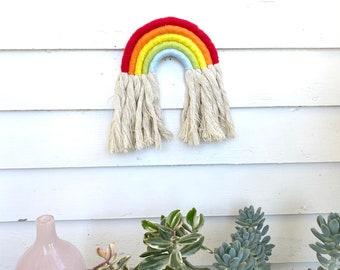 Rainbow Wall Hanging, Rainbow Wall Decor, Textile Wall Hanging, Boho Home Decor, Nursery Art