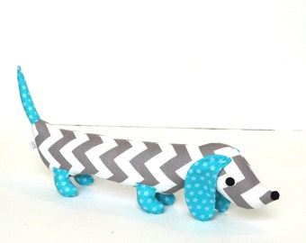 Gray and White Chevron Wiener Dog Softie for Kids and Baby MORRIS
