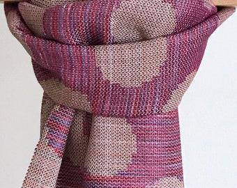 RED/PURPLE Hand Dyed Handwoven 100% Tencel Circles Scarf