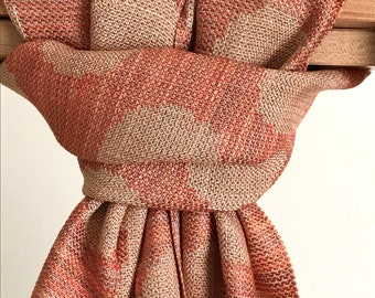 COPPER Hand Dyed Handwoven 100% Tencel Circles Scarf