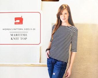 Liesl + Co Women's Pattern Maritime Knit Top Sizes 0-20 UNCUT