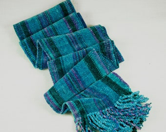 CARIBBEAN Handpainted and Handwoven Rayon Chenille Scarf