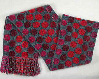Gray and Red/Fuchsia Reversible Circles Rayon Chenille Scarf