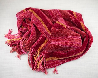Handwoven and Handpainted Rayon Chenille Scarf