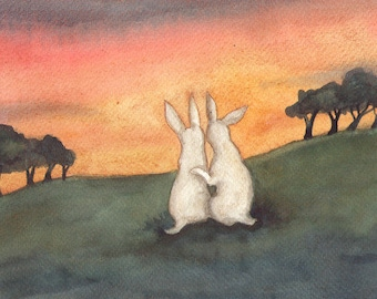 Sunset Together - Fine Art Print - Bunny Rabbits