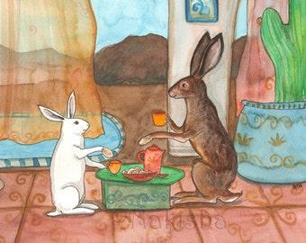 Tea with Jack Rabbit - Fine Art Rabbit Print