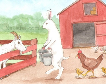 Down on the Farm - Fine Art Print - Rabbit, Goat and Chickens