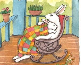Fine Art Rabbit Print - Front Porch