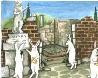 Touring the Ruins - Fine Art Print- Bunny Rabbits