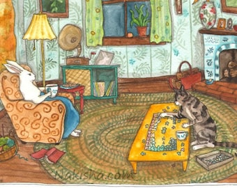 Sunday Evening - Fine Art Print - Rabbit Art