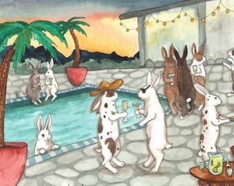 Sunset Pool Party - Fine Art Print - Rabbit Art