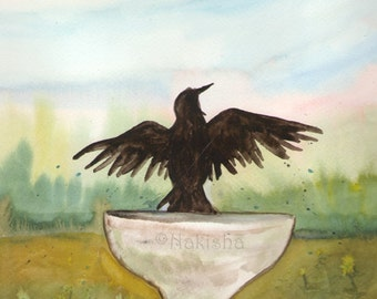 Original Art - The  One of Crows - Watercolor Crow Painting -The Badgers Forest Tarot