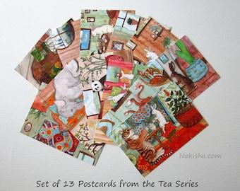 Postcard Set - Tea With Rabbit Series - Set of 13 Art Postcards