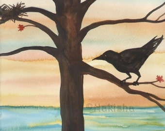 Original Art - The Three of Crows - Watercolor Crow Painting -The Badgers Forest Tarot
