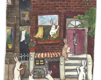 City Bunnies - Fine Art Print - Rabbit Art