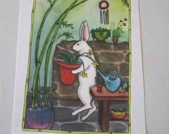 Oops Print - Special Price - Bamboo Garden - Fine Art Rabbit Print