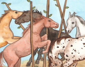 Original Art - The Five of Wands - Watercolor Horse Painting - Art from The Riderless Tarot