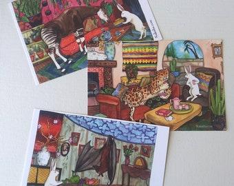 New Postcard Set - Additional Tea With Rabbit Series - Set of 6 Art Postcards
