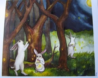 Luster Print - Fireflies - Fine Art Rabbit Print