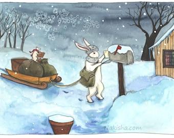 Winter Delivery - Fine Art Print - Rabbit Art
