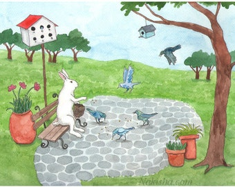 Reserved - Original Watercolor Rabbit Painting - Feeding the Birds
