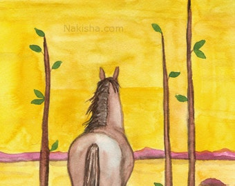 Original Art - The Three of Wands - Watercolor Horse Painting - Art from The Riderless Tarot