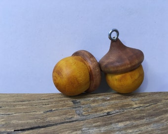 Solid Wood set of 2 Heritage BLUE or GREEN Rustic Lucky Acorn Ornament Wooden Acorn Rustic Ornaments