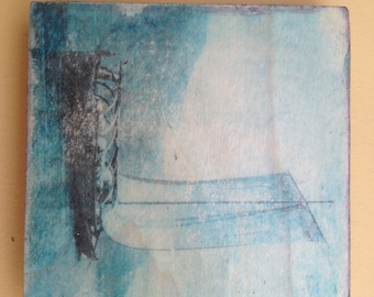Blue Sail Boat Photo Transfer on Wood