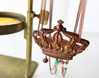 Large Crown Necklace, Medieval Crown Pendant Necklace