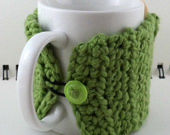 Crocheted Coffee or Ice Cream Cozy with Pocket in Green with Green Button (SWG-E08)
