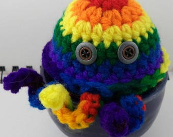 Crocheted Rainbow Cthulhu Plush with Gunmetal and Bronze Button Eyes