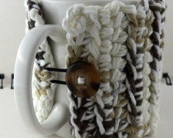 Crocheted Coffee or Ice Cream Cozy, Cafe au Lait (SWG-Z06)
