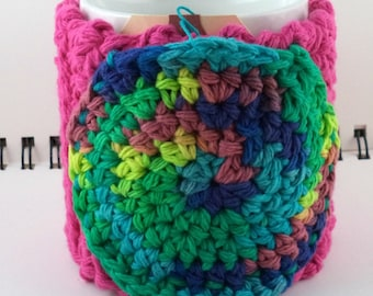 Crocheted Coffee or Ice Cream Cozy in Hot Pink Cotton with Round Pocket in Tie-Dyed Rainbow with Black Button (SWG-F03)