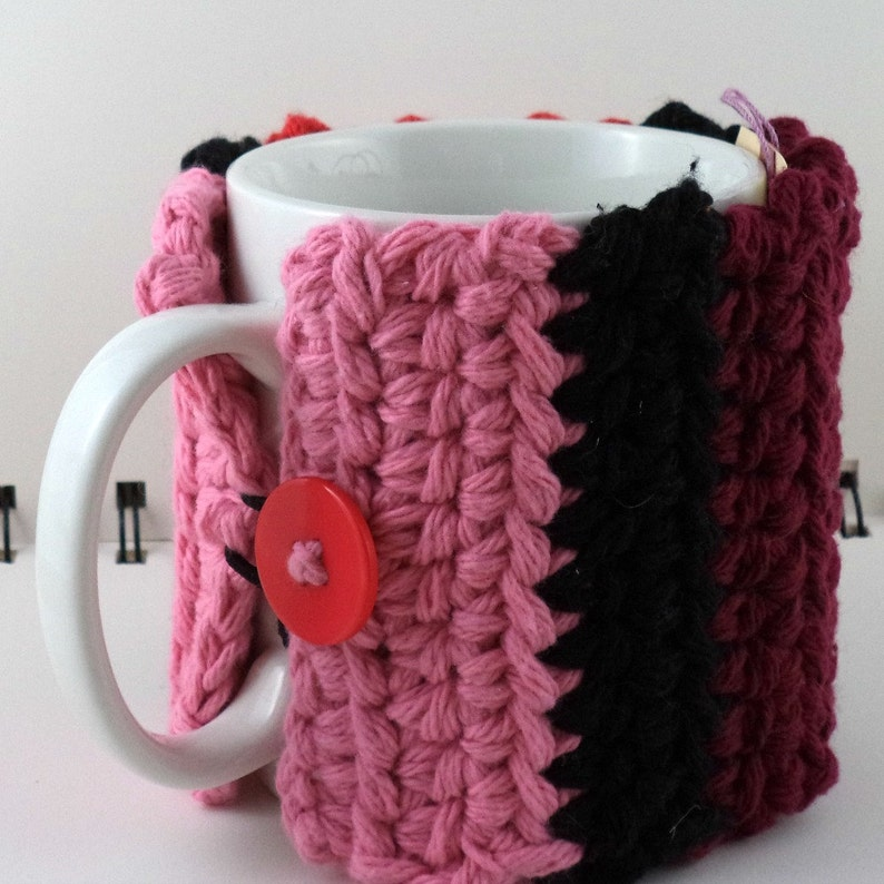 Crocheted Coffee or Ice Cream Cozy Red Pink and Black image 0