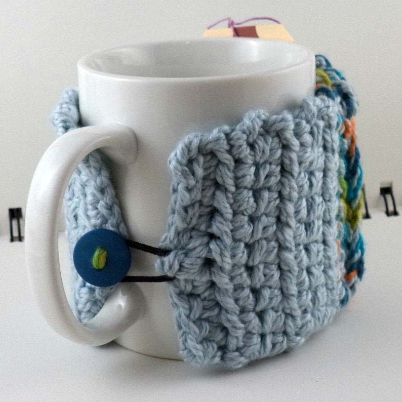and Green Cotton-Silk Blend with Blue Button Crocheted Coffee or Ice Cream Cozy with Pocket in Blues Orange SWG-E02