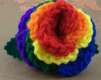 Crocheted Rose Hair Barrette - Rainbow (SWG-HB-RB01)