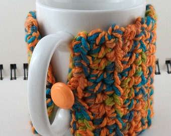 Crocheted Coffee or Ice Cream Cozy in Oranges and Ocean Colors (SWG-I12)