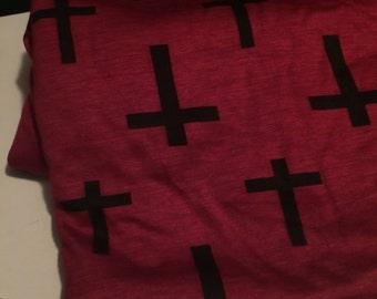 Rayon Jersey Knit  Crosses Print