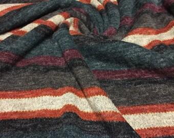 Sweater Knit Fabric Stripe Earth Tones 1-M