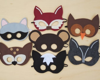 Child Size Woodland Masks with US Priority Mail Shipping Fees As Seen In Parenting Magazine