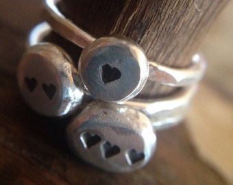 Sterling Silver Stacking Heart Chunk Ring