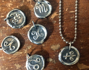 Hand Cast Sterling Silver Zodiac Wax Sealing Stamp Necklace