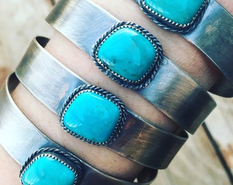 Handcrafted Artisan Chiclet Cuff Turquoise & Sterling Silver