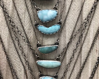 Handcrafted Artisan Necklace Caribbean Larimar & Sterling Silver