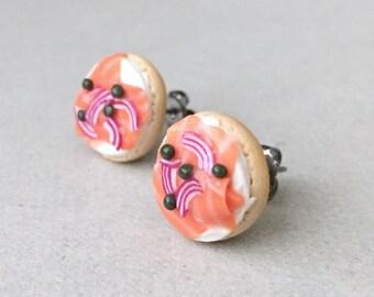 Bagel & Lox Stud Earrings - polymer clay miniature food jewelry