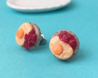 Gefilte Fish Plate Stud Earrings - polymer clay miniature food jewelry