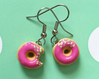 Pink Frosted Donuts Dangle Earrings - polymer clay miniature food jewelry