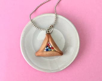 Sprinkle Hamantaschen Purim Cookie Necklace - polymer clay miniature food jewelry