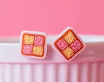 Battenberg Cake Slice Stud Earrings - polymer clay miniature food jewelry