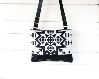 """SALE!  Large """"Drew"""" Leather and Wool Crossbody Bag"""